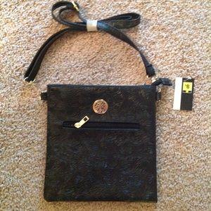 "Handbags - NWT Black Swirl Design Crossbody Bag 8.5""x9"""